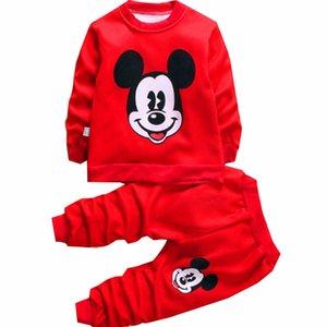 Automne Hiver Noël Mickey bébé Garçons Vêtements fille Kids Set chaud laine Set Cartoon Boy Sweat pant 2PCS costumes vêtements fille Y200325