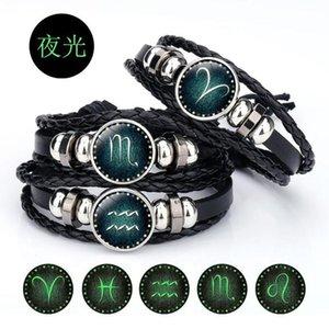 Ornamentos 12 constelações couro corda estudante tecido pulseira corda pulseira ornamento couro mão