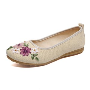 COZULMA Women Breathable Linen Casual Shoes Autumn Fashion Sneakers Female Flower Hemp Slip-on Loafers Shoes Plus Size 35-42