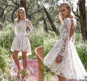 Short Lace Wedding Dresses Sheer Long Sleeves Garden beach boho high low Limor Rosen Bridal Gowns 2019 Sexy Backless A Line Wedding Dresses
