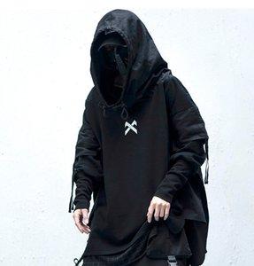 Preto legal cStreetwear Man Hoodies Hip Hop Embroideried pulôver Patchwork Falso Two DarkWear Tops Techwear Hoodies