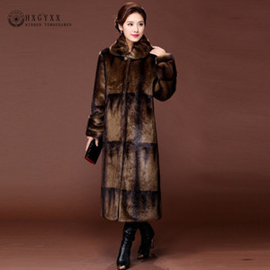 2019 Brasão Gradiente de cor real Mink Quente Longo Natural Fur Coats Mulheres Inverno Casacos Jacket de luxo Couro 5XL S003