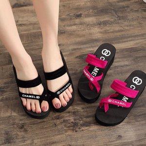 CINESSD Flock Slippers Women Summer Beach Sandals Woman 2020 Solid Wedge Flip Flops Woman Fashion High Heels Shoes Women Sandles