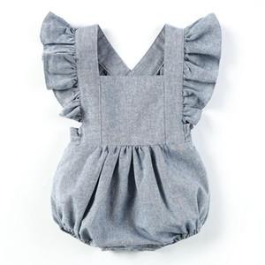 2019 새로운 도착 어린이 옷 Climbing Clothes 아기 소녀 Ruffle Sleeve Dress 아동복 Onesies Clothing