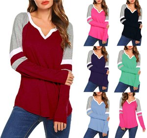 Women Long Sleeve T Shirt Spring Autumn V-Neck Striped Patchwork Casual Slim Plus Size Tops