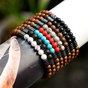 OIQUEI 2020 6mm oración budista de madera pulseras de Buda Hombres Lave piedra natural elástico BraceletBangles pulsera joyería hombre