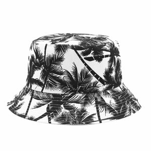 Canvas Fisherman Hat Unisex Printed Coconut Tree Double-Sided Wearing Cap Outdoor Travel Visor Bucket Hat Black