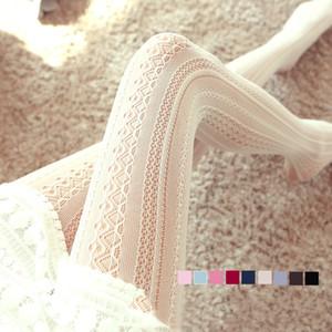 Duolafine Sexy колготки японская колготки осень Хлопок Вязаные чулки 9color Женщины Теплый Twist Полосатый Tight