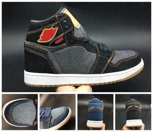 NIKE 2020 Denim Баскетбол обувь 1s Le Blue Black High Обувь New Designer горячий продавать мужские кроссовки