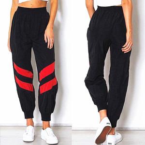 Calças de cintura alta Womens Corredores Pants Hip Pop Dance Abkle-amarrado Ganhos ocasional das meninas dos retalhos de carga Calças Sportswear Slacks Hot