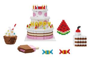 فتاة بناء كتل الجسيمات الماس لغز تجميعها بناء كتل لعب كعكة عيد ميلاد مجموعة