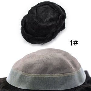Aohai Human Hair Good Quality Hairline Mens Toupee Fine Mono Poly Around Hairpieces Durable Wigs Breathable Hair Replacements