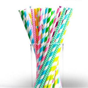 Straw Parti'yi İçme Çizgili Gıda Hamur Kağıt Payet İçin Çocuk doğum günü partisi Renkli Kağıt Şenlikli Dekorasyon Pipetler IIA82 Malzemeleri
