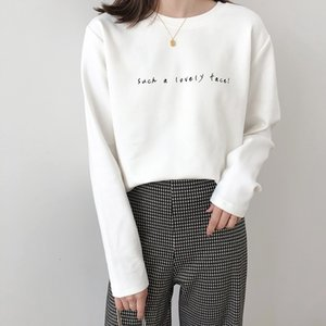 Letter Thickening Long Sleeve Woman T-shirt 2020 Loose Fashion Cotton Autumn Winter Pullovers