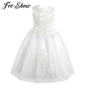 Girls Sleeveless Lace Flower Girl Dress Formal Tutu Princess Pageant Wedding Vestido de festa Kids Birthday Party Dress