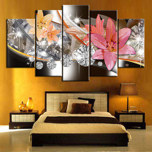 Pink Flower Canvas Wall Art Painting Flower Pictures on Canvas Wall Decor Posters for Bedroom Living Room Unframed