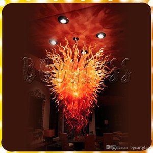 Lustre moderne Lumière Big Size Luxe Rouge Feu de verre Salon Light Pendant Dale Chihuly verre soufflé Art Led Lustres Lighting