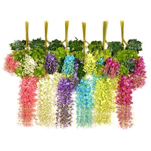 Viña del banquete de boda floral artificial Wisteria falso jardín colgante flor de Plantas de eventos Decoración DHF35