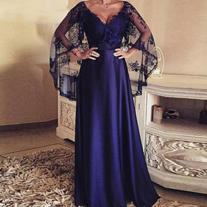 V-Ausschnitt Lace Appliques a-line Mutter der Brautkleider Bodenlänge 2020 Modest Plus Size Custom Online Maxi Vestidos de Soiree