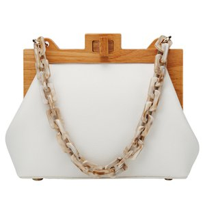 Vintage Luxury Acrylic Chain Wooden Clip Women Shoulder Bags Designer Shell Handbags Brand Crossbody Bag Fashion Lady Purse 2020