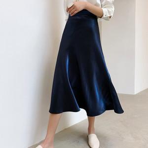 Falda de raso mujeres elegantes 2020 verano de cintura alta del partido de seda azul brillante Midi una línea Bottoms Faldas