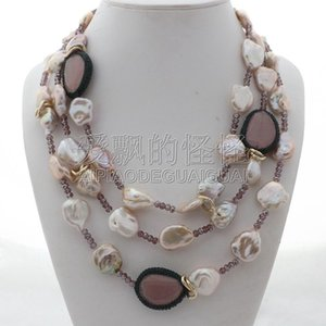 N112606 Collana 19 '' 3 fili Keshi perla rosa cat eye in cristallo J190526