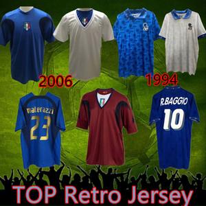 Retro 2006 إيطاليا Soccer Jersey Gattuso Cannavaro Francesco Totti Del Piero Nesta Inzaghi Pirlo Materazi Toni 1994 قمصان كرة القدم إيطاليا