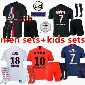 Uomi bambini 19 20 PSG Mbappe maglia da calcio 3rd kit 4HT 2019 2020 Paris Maillot Icardi adulti ragazzi Set completo camicia uniforme di calcio