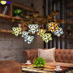 FUMAT Multi Star Tiffany Style Loft Stained Glass Pendant Light Chandelier Lamp Hanging Lighting Fixture Arts Nordic Home Decor