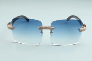 2020 heißen Verkauf Große quadratische Linsen Mikro-pflaster Diamanten Sonnenbrille schwarz natürliches Büffelhorn Tempel L-3524012-b, Größe: 56-18-140mm