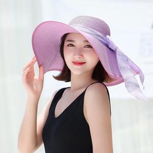 Foldable Lady beach straw hats Sun Hat Ladies Wide Brim Straw Hats Outdoor Foldable Beach Panama Hats Church Hat LJJA3669