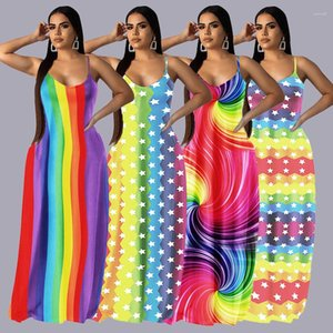 Nouveau Casual dames Robes Femmes Striped Multicolores étoiles Robes Spaghetti Strap arc-en-Femme Designer Vêtements d'été