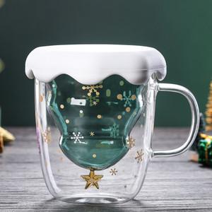 Árvore de Natal Copo de vidro canecas resistente ao calor Double Layer Caneca bebendo Óculos Bottes almoço Milk Cup personalizado com tampa GGA2689