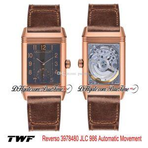 TWF Grande Reverso 3978480 JLC 986 Automatic Mens Watch Rose Texture Black Gold Dial Número Marcadores Brown Leather Strap Nova Puretime 4D17