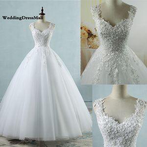 Vestidos de esfera Spaghetti Correias Branco Marfim Tule Vestidos de Noiva 2021 com Pérolas Nupcial Vestido Casamento Cumprimento Tornado