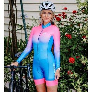 Pro Terno das mulheres Equipe de Triathlon Ciclismo conjuntos jérsei Uniforme manga comprida skinsuit Jumpsuit Ropa Ciclismo Swimwear Mujer Trisuit