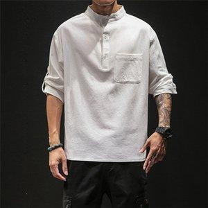 Erkek Katı Gevşek Düğme Gömlek Man Yaz Tasarımcı Çin Stili Standı Yaka Cep Gömlek Erkekler Oversize Moda Günlük Giysiler