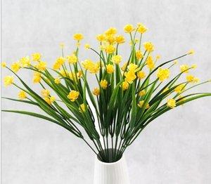 Plantes vertes en pot de plastique Petit Pivoine avec fleurs sèches de fleurs artificielles et Seven Forks of Spring herbe 30pcs / lot WL110