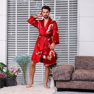Clothing Mens Printed Robe Sets Belt Long Sleeve Pajamas Shorts Loose Two Piece Suit Male Casual