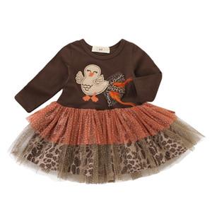 추수 감사절 여자 아기 드레스 터키 드레스 어린이 레이스 긴 소매 메쉬 공주 드레스 주름 드레스 도매