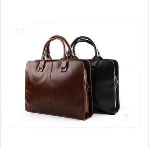 Herren-Leder-Aktenkoffer-Laptop-Beutel-Spielraum-Beutel-weicher Schulter-Beutel Geschäftsmann Handtasche Male Formal Akten