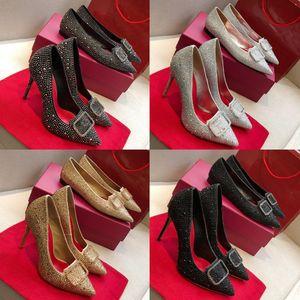 2020 neue Art und Weise Top-rote Unterseite Womens Stiletto Heels 10cm verzieren mit Swarovski-Kristallen Diamant-reizvolle Partei-Brauthochzeits-Schuhe