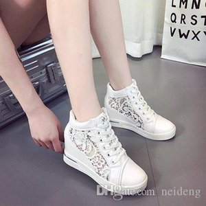 Hot Sale-Women Wedge Platform Shoes Pointed Toe Increasing Creepers Rubber Brogue Leather Lace Up High heel Shoes
