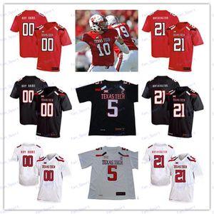 Personnalisé Texas Tech TTU 2020 College Football Tous Numéro Nom Noir Rouge Blanc 10 Alan Bowman Mahomes Mayfield Welker Men Youth Kid Jersey