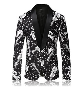 2020 Yeni stil Erkekler ceket ceket eğlence yüksek kaliteli takım elbise müzik puanı desen blazer erkek ceket pazen blazerler