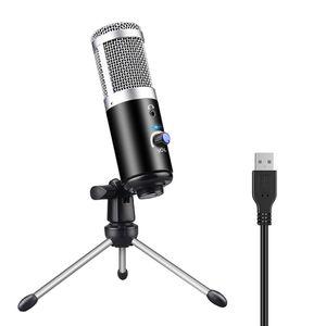Profissional microfone condensador para computador portátil PC USB plug + suporte Estúdio Podcasting Gravação Microfone Karaoke Mic nova