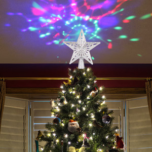Forma del árbol de navidad luz superior de la estrella LED ajustable Tormenta de nieve muñeco de nieve raya RGB Proyector láser luces ornamento de navidad
