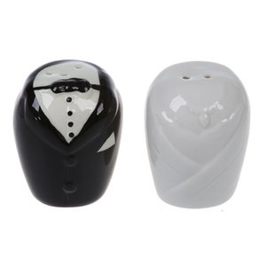 Wedding Gown and Tuxedo Ceramic Salt and Pepper Set Wedding Favors Patry - White and Black