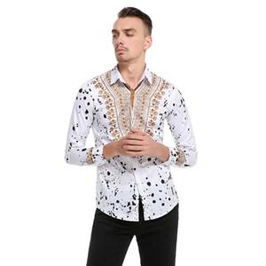 Tamaño europeo Primavera Otoño Para hombre Impreso Camisa floral Algodón Casual Manga larga Ropa masculina Delgado Cómodo