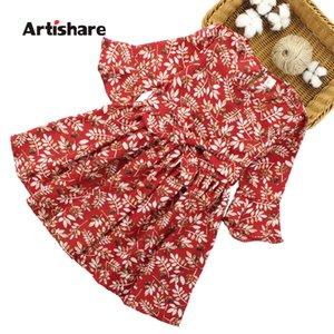 Artishare Kızlar Için Elbise 2018 Yeni Yaz Elbise Çocuklar Çiçek Desen Çocuk Elbise Casual Genç Kız Giysileri 6 8 10 12 14 Y190516